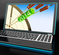 Arrows on laptop showing festivities and celebrations Stock Photography
