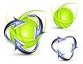 Image : Arrows orbiting spheres spacecraft  surface