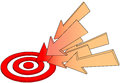 Arrows point at hot target drawing Royalty Free Stock Photography