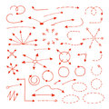Arrows set of hand drawn circles dash line elements sketch pointing in different directions red signs isolated on white Royalty Free Stock Images