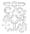 Arrows sketchy elements Royalty Free Stock Image