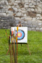 Arrows and target archery in field Royalty Free Stock Photo
