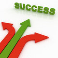 Arrows in three directions with success Stock Photos