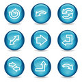 Arrows web icons, blue glossy sphere series Stock Image