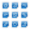 Arrows web icons, blue glossy sticker series Royalty Free Stock Images