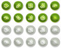 Arrows web icons, green and grey circle buttons Royalty Free Stock Image