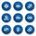 Arrows web icons set 2, blue circle buttons