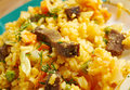 Arroz chino colombiana fried rice with vegetables and meat southern food Stock Photography