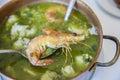 Arroz de Tamboril or soupy seafood rice, portuguese recipe Royalty Free Stock Photo