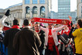 Arsenal soccer fans in Milan Royalty Free Stock Photo