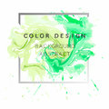 Art abstract background watercolor paint  texture design poster illustration vector over square frame. Royalty Free Stock Photo