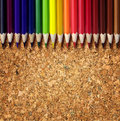 Art background colorful crayon on cork background Stock Images