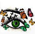 Art background with green realistic eye and butterflies Royalty Free Stock Photo