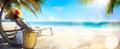 Art beach stuhl und hut auf tropischem strand Lizenzfreie Stockfotografie