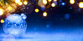 Art Blue Christmas background; Christmas composition with Xmas d Royalty Free Stock Photo
