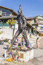 Art on the boulevard in montreux statue of freddie mercury http en wikipedia org wiki file freddy mercury statue jpg Royalty Free Stock Images