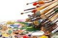 Art brushes on artist palette Royalty Free Stock Photo