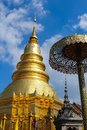 The art of buddhism religion thailand golden pagoda in wat phra that hariphunchai lamphun province in Stock Photos