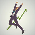 Art business vector illustration with man jumping up and happy Royalty Free Stock Photo