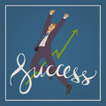 Art business vector illustration with man jumping up and happy  handwriting lettering word success Royalty Free Stock Photo