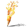 Art of butterfly gold pencil. Royalty Free Stock Photography