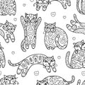 Art cats with floral ornament, seamless pattern