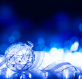 Art christmas decoration on blue background Stock Photography