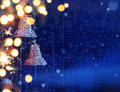 Art christmas lights background on blue Royalty Free Stock Photo