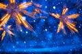 Art christmas lights no fundo azul Imagens de Stock Royalty Free