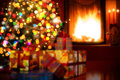 Art Christmas scene with tree gifts and fireplace