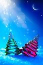 Art Christmas tree toy on blue night background Royalty Free Stock Image