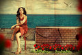 Art collage. beauty young woman Stock Photos