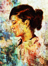 Art colorful painting beautiful girl face and crackle background. Royalty Free Stock Photo