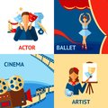 Art and culture design concept set with actor ballet cinema artist flat icons isolated vector illustration Stock Photos