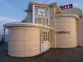 Art deco amusement arcade area on worthing pier uk including an clock Royalty Free Stock Photo