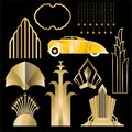 Art Deco , Art Nuevo geometric elements, frames triangles, circles. DIY set of frames. Great Gatsby, party golden frame .