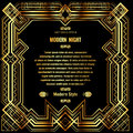 Art deco border with gold grid frame on a black background Royalty Free Stock Photo