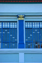 Art deco building napier detail of blue facade and window hawkes bay district north island new zealand Royalty Free Stock Images