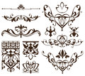 Art deco design elements of vintage ornaments and borders corners of the frame Isolated art nouveau flourishes Simple elements
