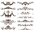 Art deco design elements of vintage ornaments and borders corners of the frame Isolated art nouveau flourishes Simple elements Royalty Free Stock Photo