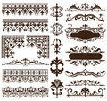 Art deco design elements of vintage ornaments and borders corners of the frame Isolated art nouveau flourishes Simple elements of