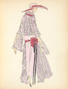 Art deco flapper fashion plate illustration lady with hat and dress in pink red black Royalty Free Stock Photo