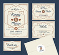 Art Deco Letterpress Wedding Invitation Design Royalty Free Stock Photo
