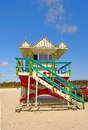 Art deco lifeguard stand miami beach photographed from the in Royalty Free Stock Images