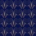 Art deco pattern gold lines bluebackground
