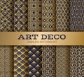 Art deco seamless pattern. Luxury geometric nouveau wallpaper, elegant classic retro ornament. Vector golden abstract Royalty Free Stock Photo
