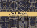 Art deco seamless pattern. Set retro backgrounds, gold and black color. Style 1920`s, 1930`s