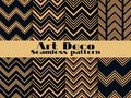 Art deco seamless pattern. Set retro backgrounds, gold and black color. Style 1920`s, 1930`s. Lines and geometric shapes Royalty Free Stock Photo