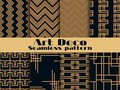 Art deco seamless pattern. Set retro backgrounds, gold and black color. Style 1920`s, 1930`s. Lines and geometric shapes. Vector Royalty Free Stock Photo