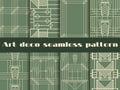 Art deco seamless patterns. Art deco geometric seamless pattern. Set retro  backgrounds. Royalty Free Stock Photo